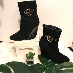 Iman Black suede Side zip bootie w/ 3.5 inch heel